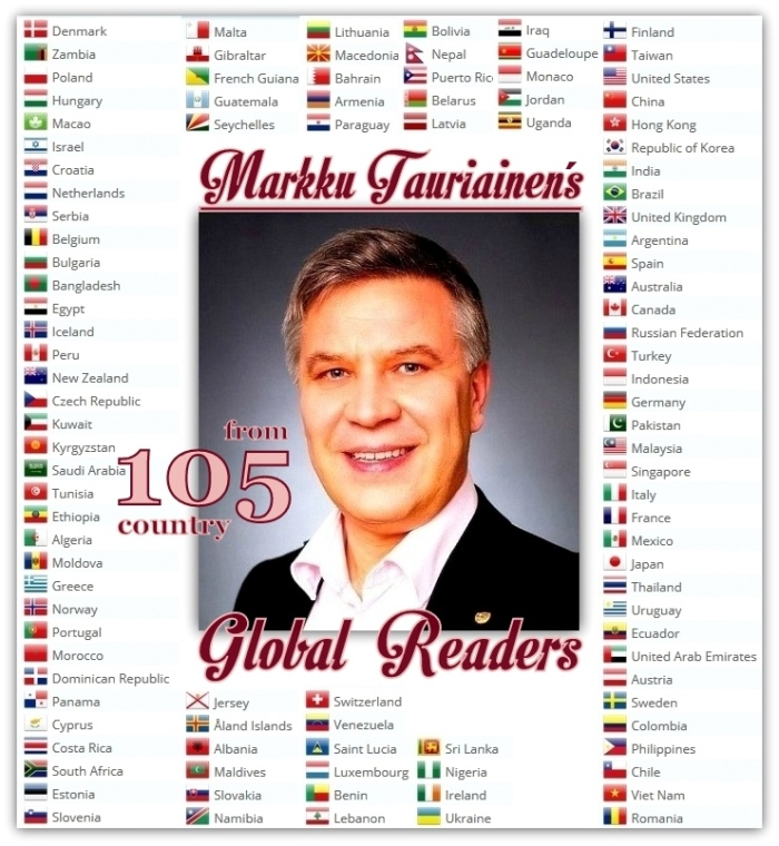 INSPIRE ME readers from 105 countries for Markku Tauriainen